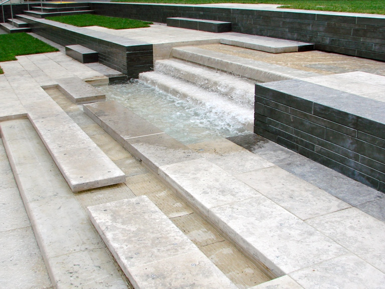 St Patricks Square Auckland - Jura Limestone Paving and Water Feature; Gulin Cladding