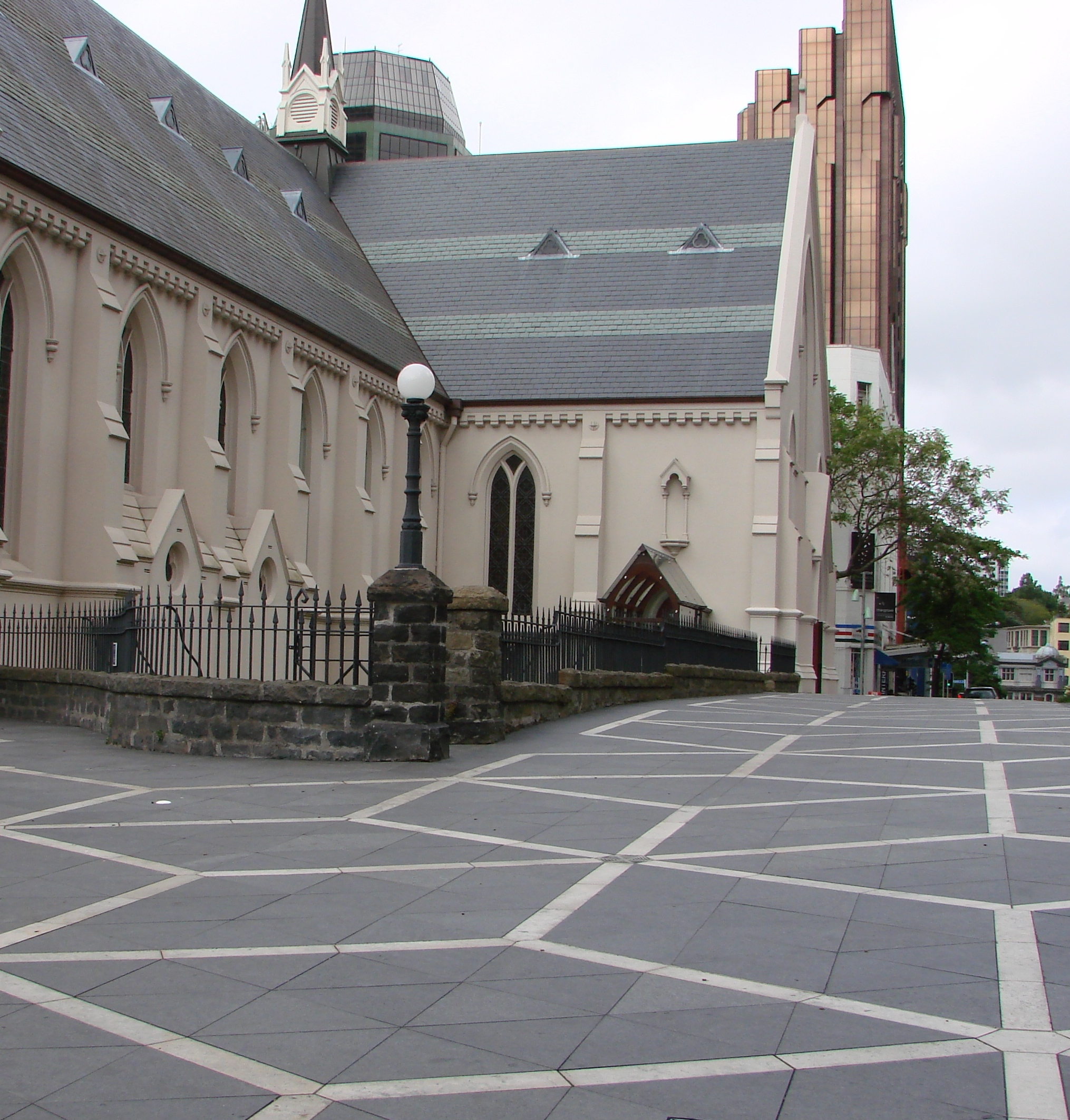 St Patricks Square Auckland - Basalt and Jura Limestone Paving